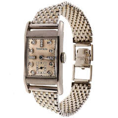 Longines Palladium Rectangular Wristwatch Retailed by Tiffany & Co. circa 1940s