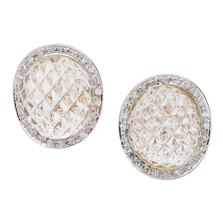 Quartz Diamond Halo Pineapple Gold Earrings