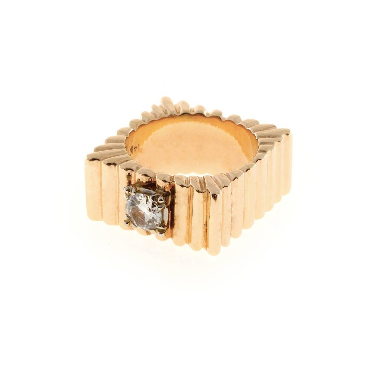 Old European Cut Diamond Square Gold  Ring