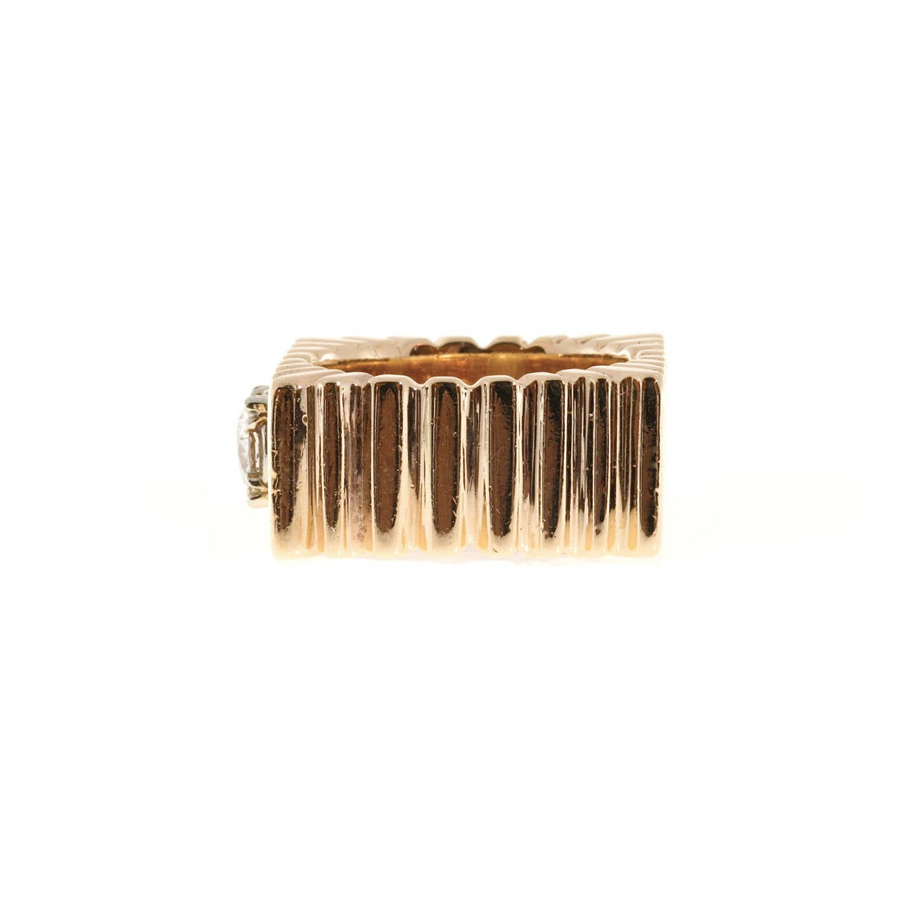 Women's Diamond Square Gold  Ring
