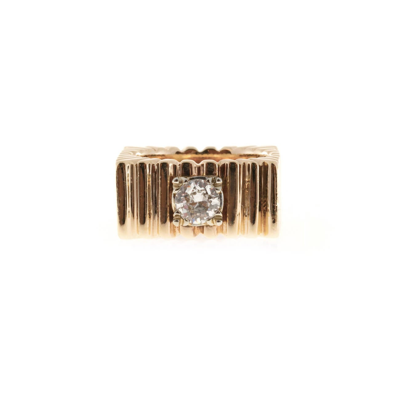 Diamond Square Gold  Ring 1