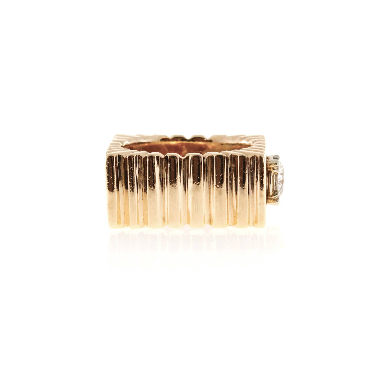 Diamond Square Gold  Ring In Good Condition In Stamford, CT