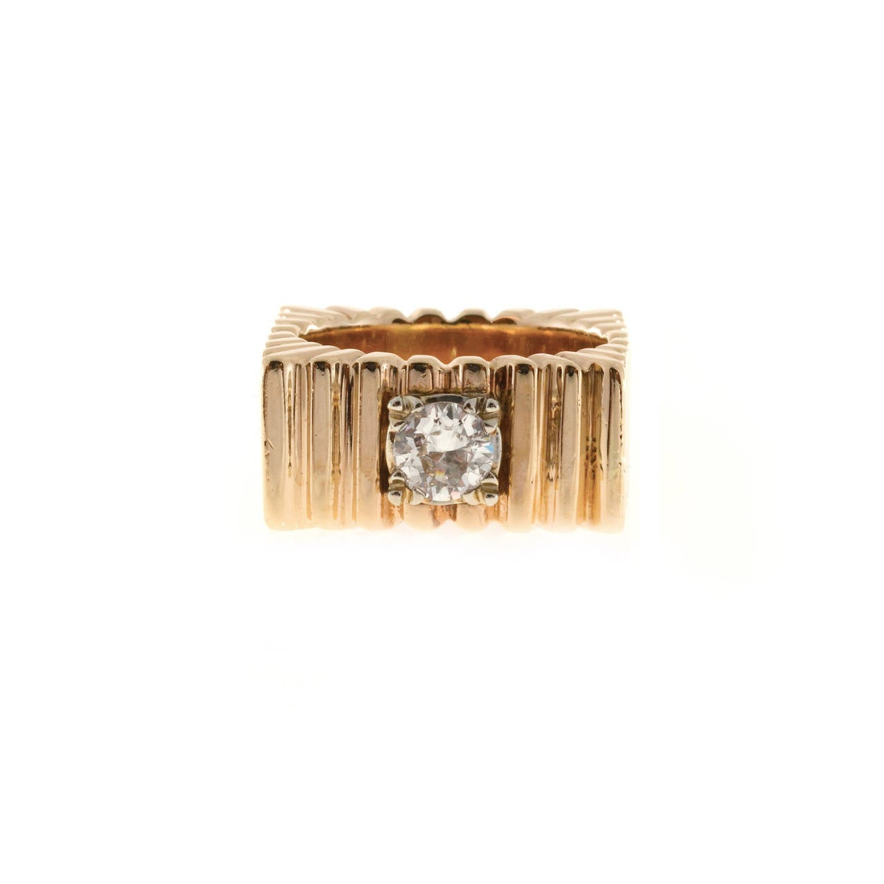 Diamond Square Gold  Ring 2