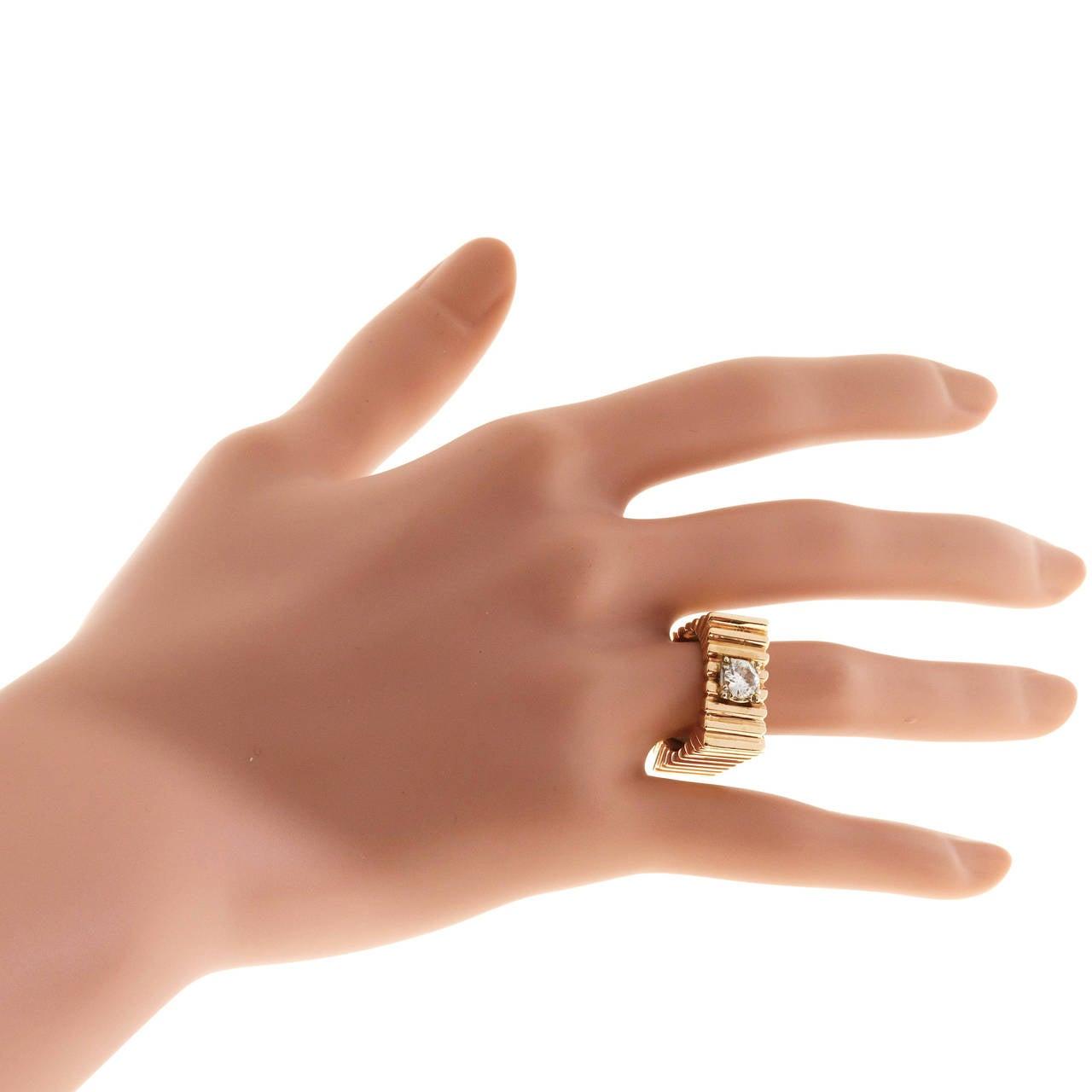 Diamond Square Gold  Ring 3