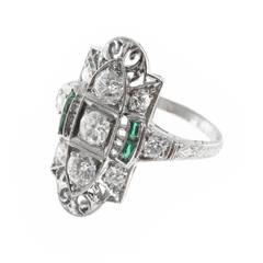 Art Deco Emerald Diamond Pierced Engraved Platinum Ring