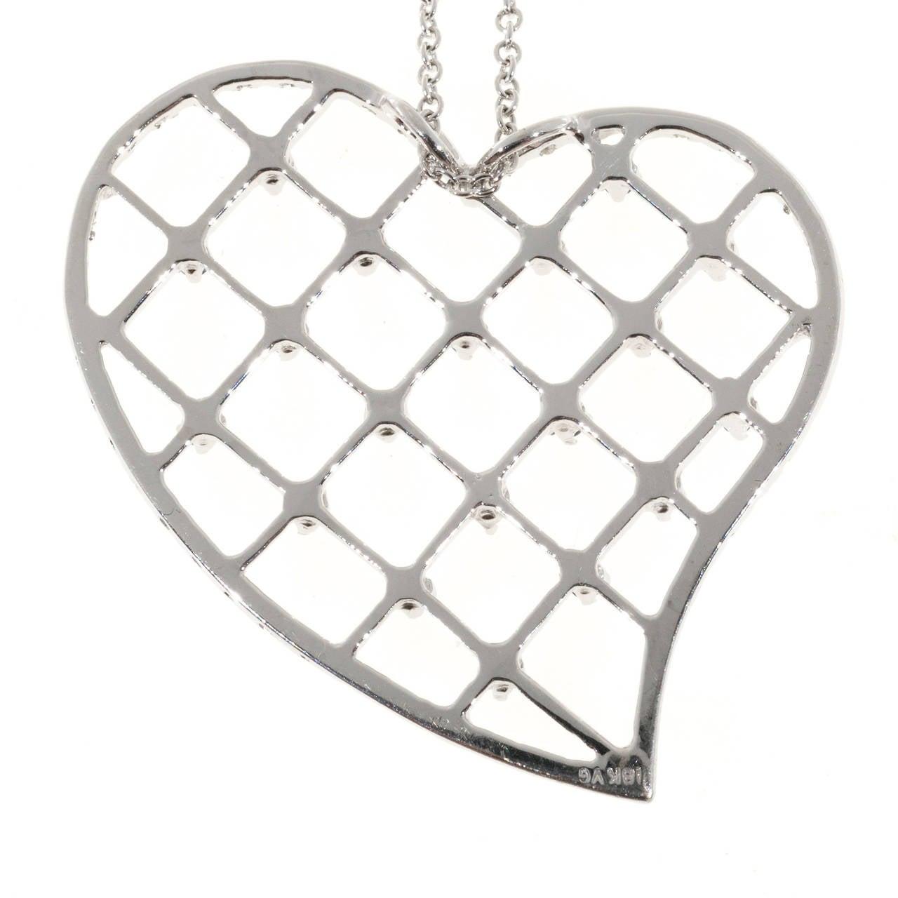 Sapphire Diamond Pave Gold Heart Pendant Necklace 3