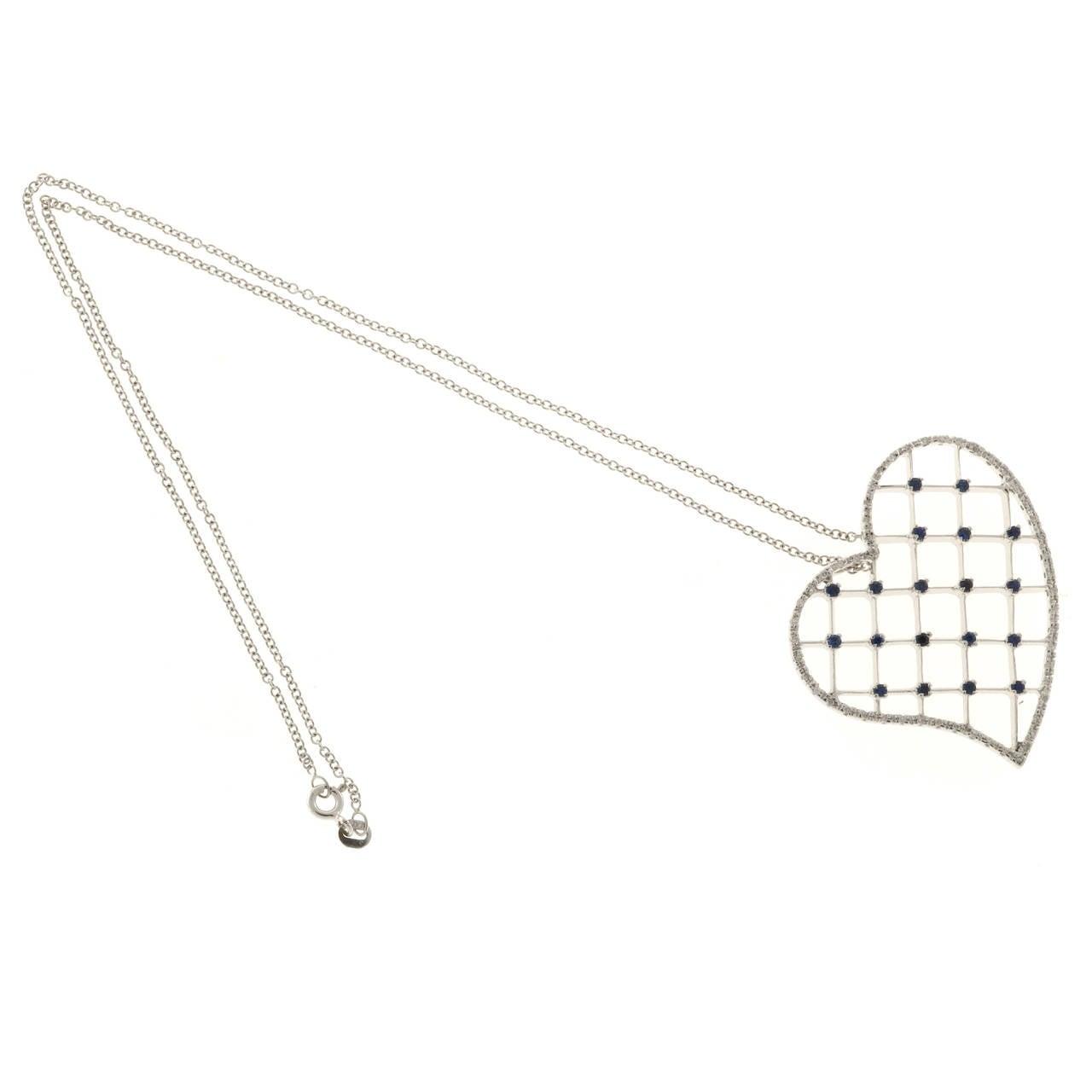Sapphire Diamond Pave Gold Heart Pendant Necklace 2