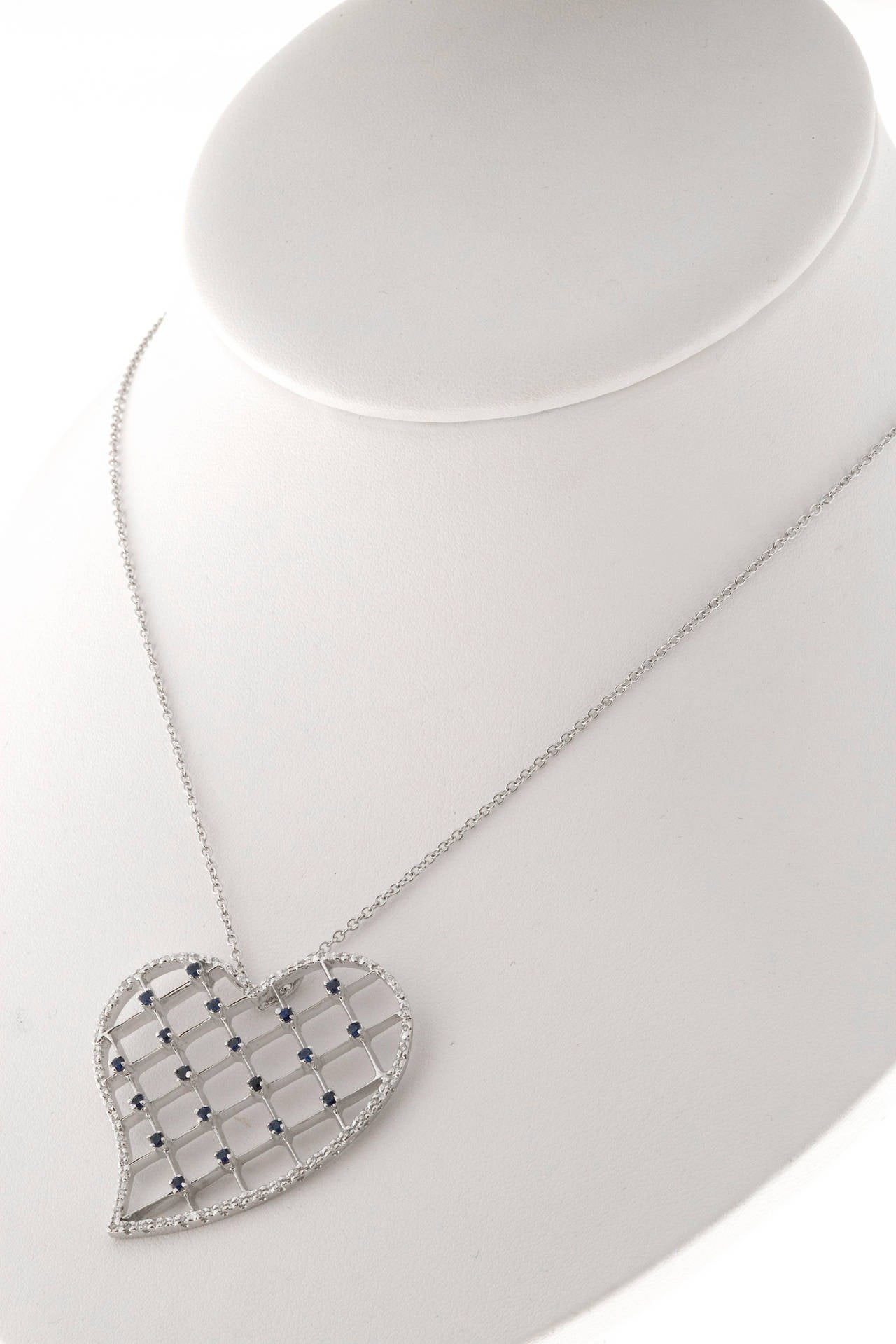Sapphire Diamond Pave Gold Heart Pendant Necklace 5