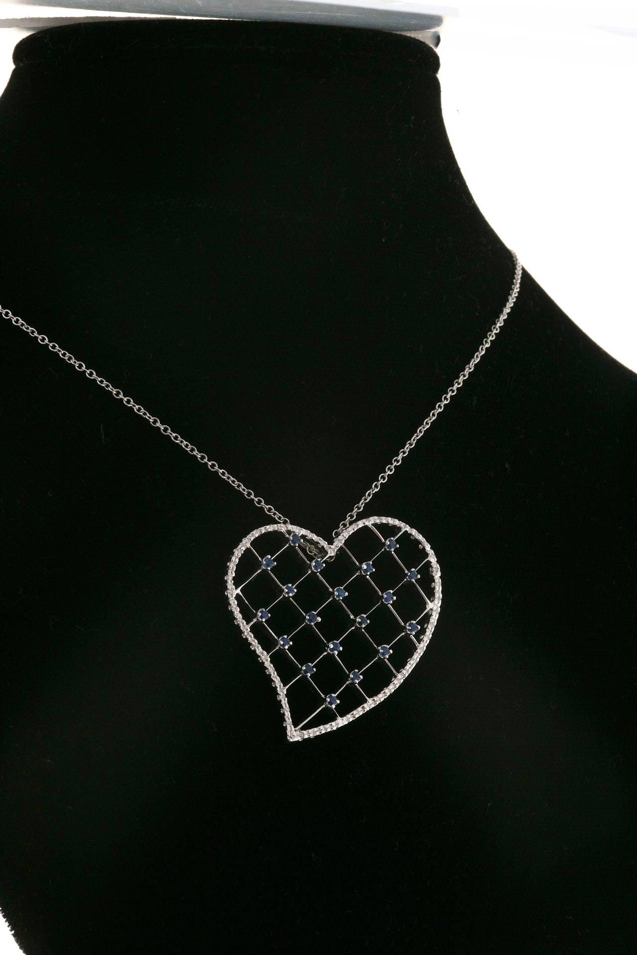 Sapphire Diamond Pave Gold Heart Pendant Necklace 6