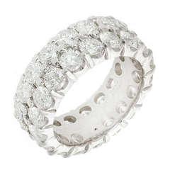 Two Row Diamond Ideal Cut Wedding Band Ring