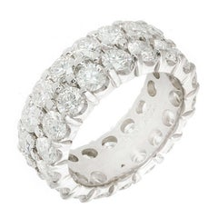 6.48 Carat Diamond Two Row Eternity Wedding Band Ring