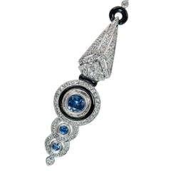 Onyx Sapphire Diamond  White Gold Lavaliere Pendant Necklace
