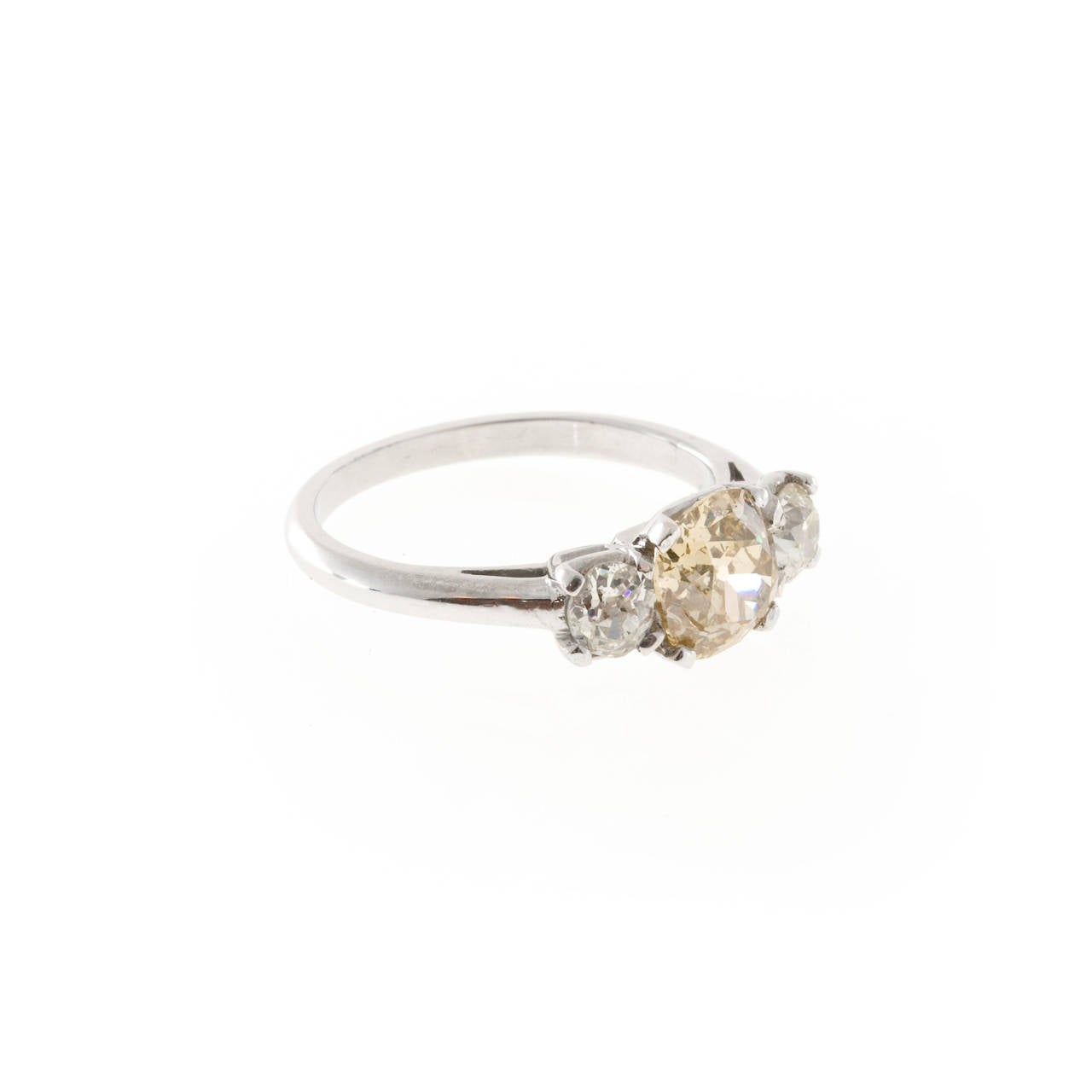 Golden Brown Yellow Diamond Platinum Ring For Sale at 1stdibs