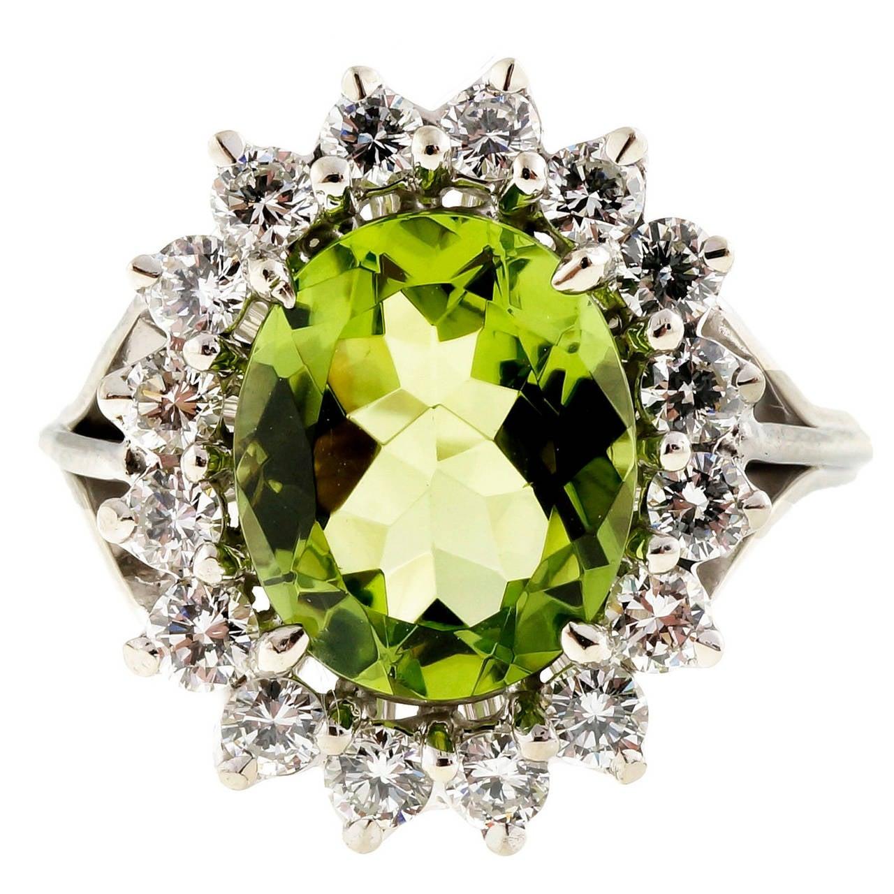 Oval Peridot Diamond Gold Cocktail Ring