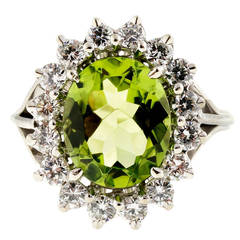 Oval Peridot Diamond Gold Cocktail Ring