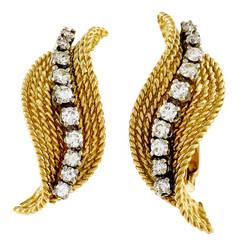 Tiffany & Company Diamond Gold Swirl Earrings