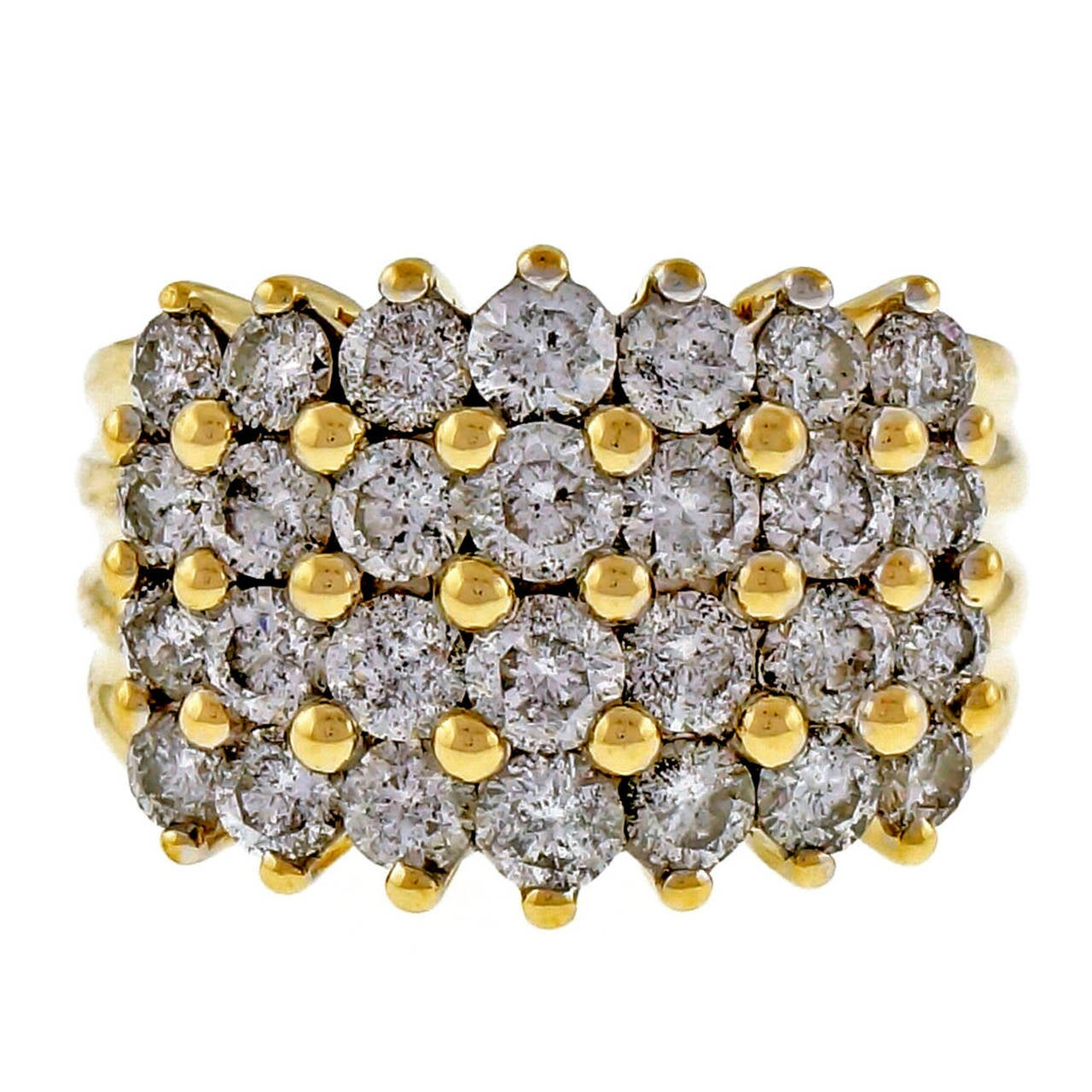 4 Row Diamond Gold Wedding Band Ring