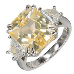 Peter Suchy 8.76 Carat Natural Yellow Sapphire Diamond Platinum Engagement Ring
