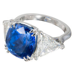 Peter Suchy 9.44 Carat Sapphire Diamond Three-Stone Platinum Engagement Ring