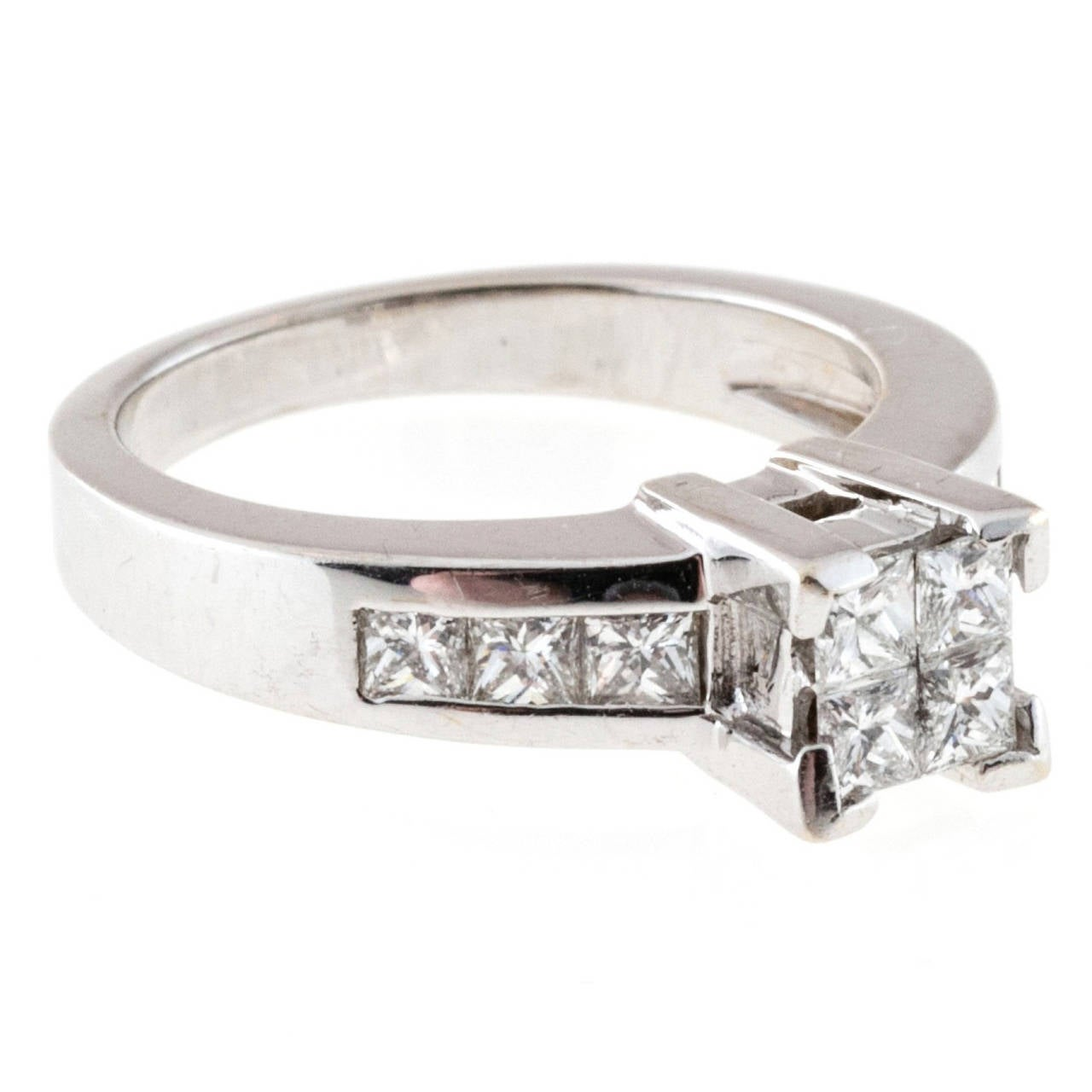 1.2 Carat Channel Set Diamond Gold Engagement Ring For Sale