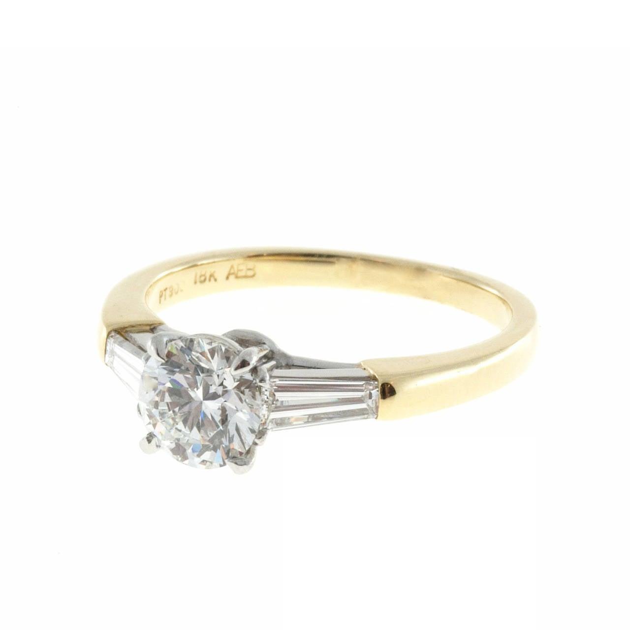 Round 90 Carat Gia Cert Diamond Tapered Baguette Gold Platinum Ring 1