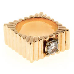 Diamond Square Gold  Ring