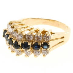 Sapphire Diamond Gold Raised Wire Dome  Ring