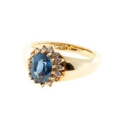 Alfred Butler Oval Sapphire Diamond Gold Cluster Ring
