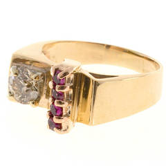Brown Diamond and Ruby Rose Gold Platinum Ring