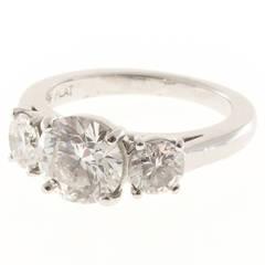 Martin Flyer 1.52 Carat GIA Cert Diamond Platinum Three Stone Ring