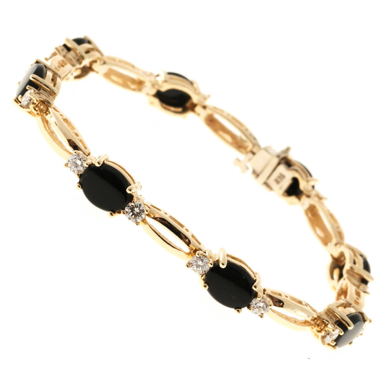 Black Oval Onyx Diamond Gold Link Bracelet
