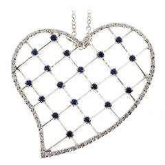 Sapphire Diamond Pave Gold Heart Pendant Necklace