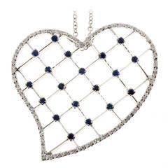 Sapphire Diamond Pave Gold Heart Pendant Necklace