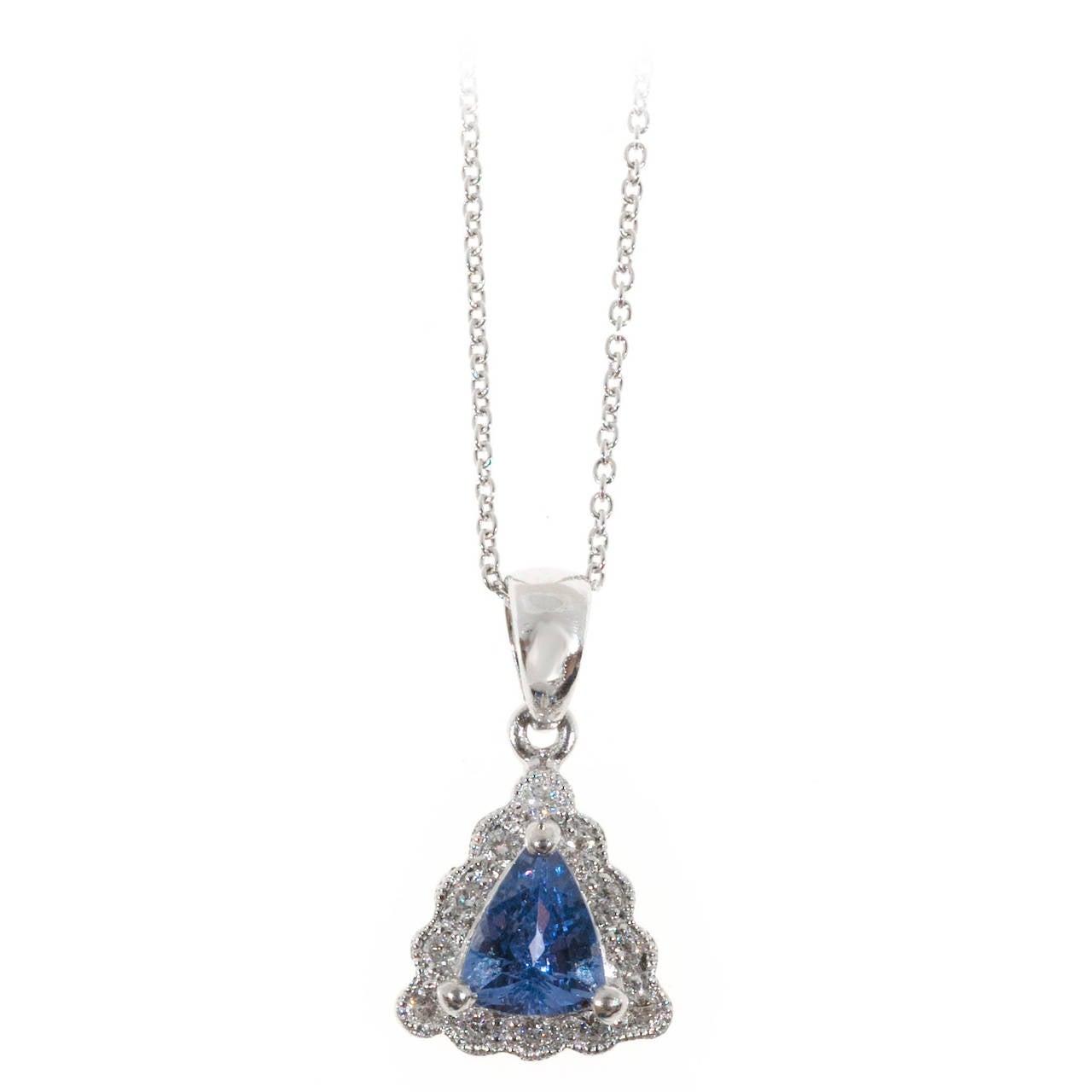 Triangular Tanzanite Diamond Platinum Pendant Chain