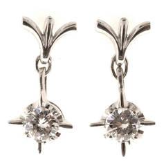 Round Cut Diamond Gold Star Dangle Earrings