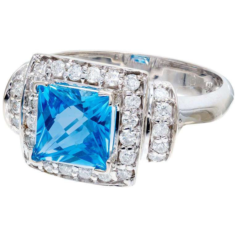 2.00 Carat Blue Topaz Diamond Halo White Gold Ring