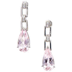 7.60 Carat Pear Morganite Diamond Platinum Dangle Earrings