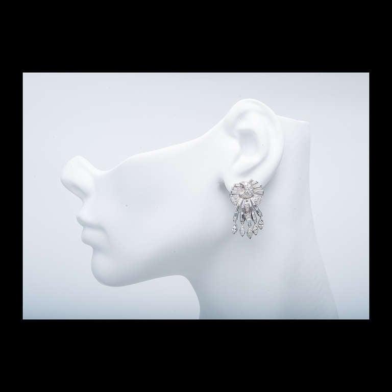 Mid-Century Diamond White Gold Dangle Earrings 2
