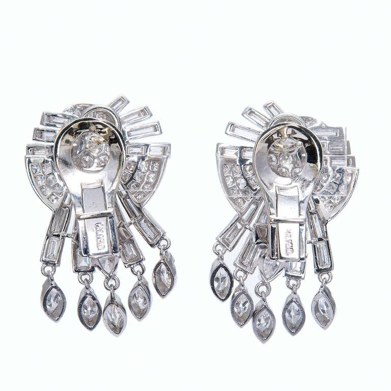 Mid-Century Diamond White Gold Dangle Earrings 3