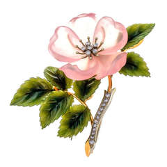 Rose Quartz Jade Diamond Gold Flower Brooche