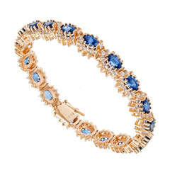 Cornflower Sapphire Diamond Yellow Gold Bracelet