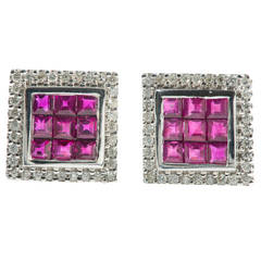 Square Ruby Diamond Gold Earrings