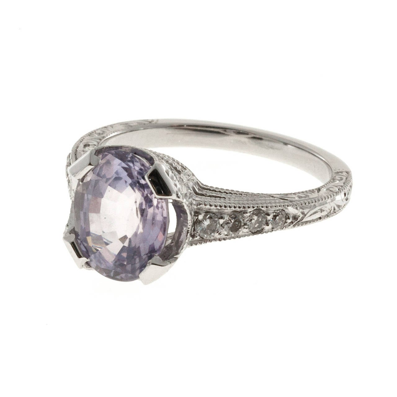 Pink Purple Natural Sapphire and Diamond Platinum Engagement Ring In Good Condition For Sale In Stamford, CT