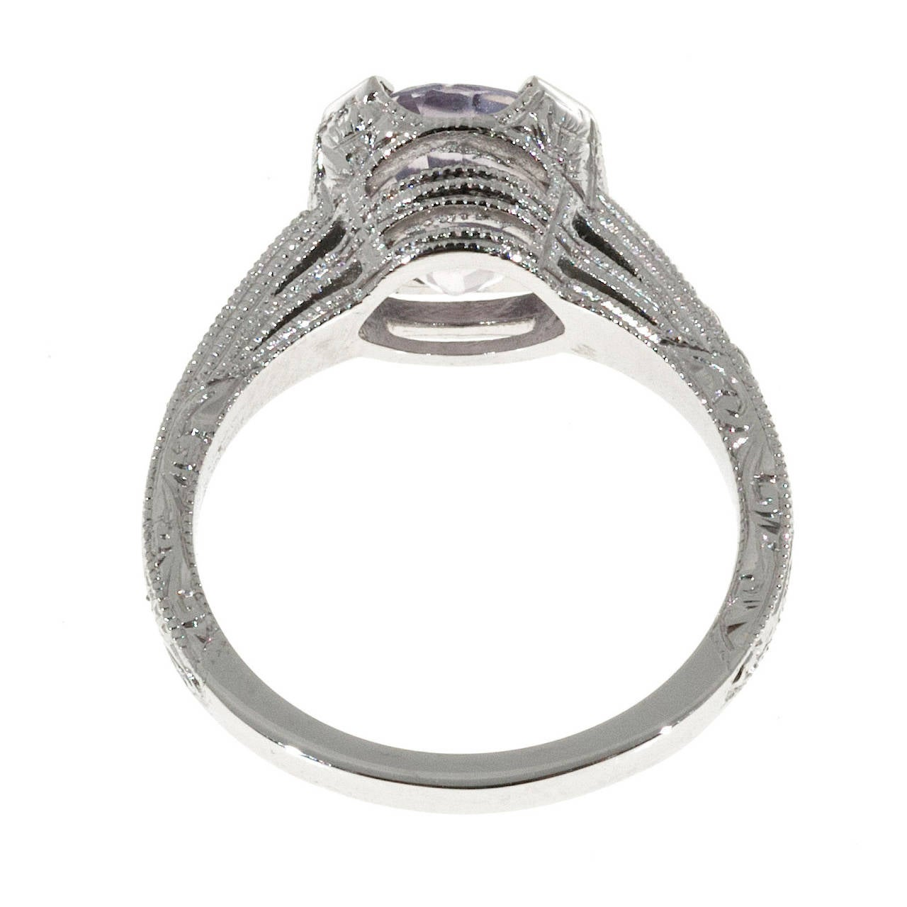 Pink Purple Natural Sapphire and Diamond Platinum Engagement Ring For Sale 3