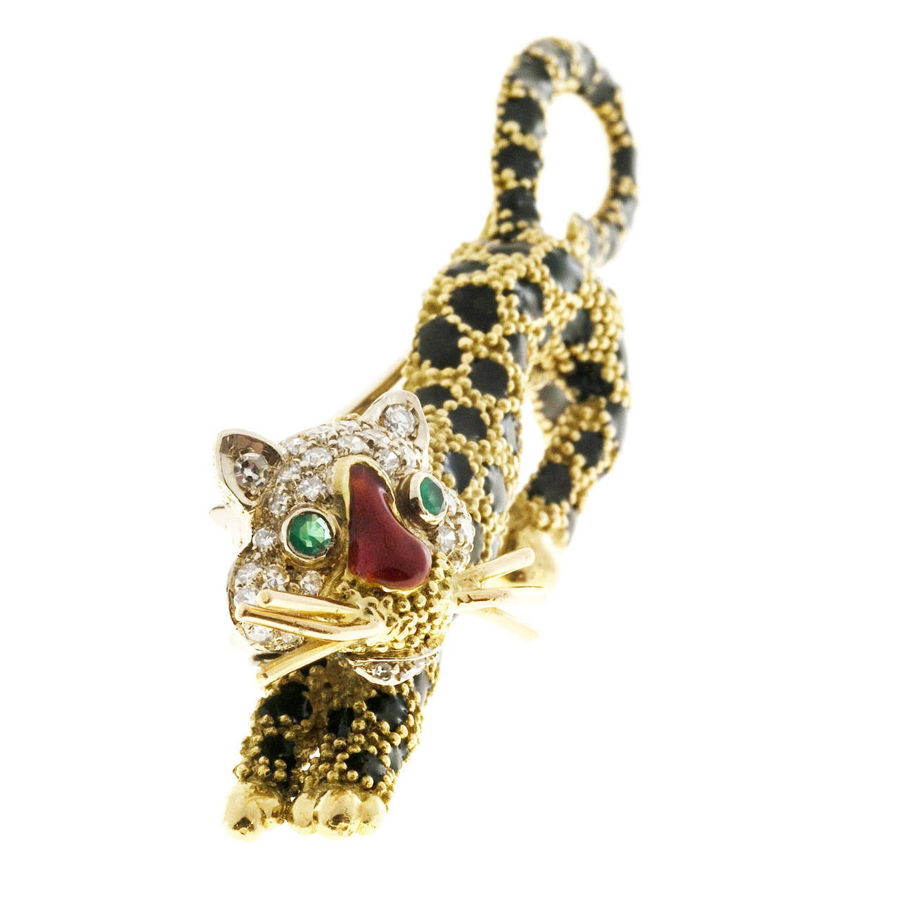 Emerald Diamond Black Enamel Yellow Gold Tiger Leopard Pin For Sale 1
