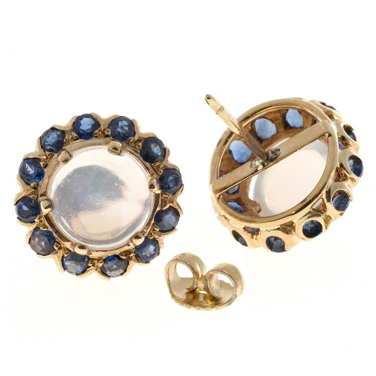 Blue Moonstone Sapphire Gold Earrings at 1stdibs