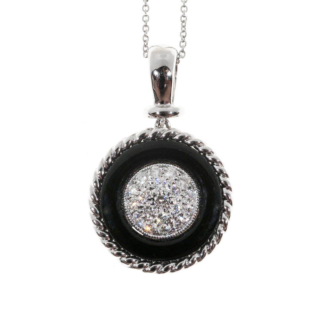 Black Onyx Circle Pave Diamond Platinum Necklace Pendant 1