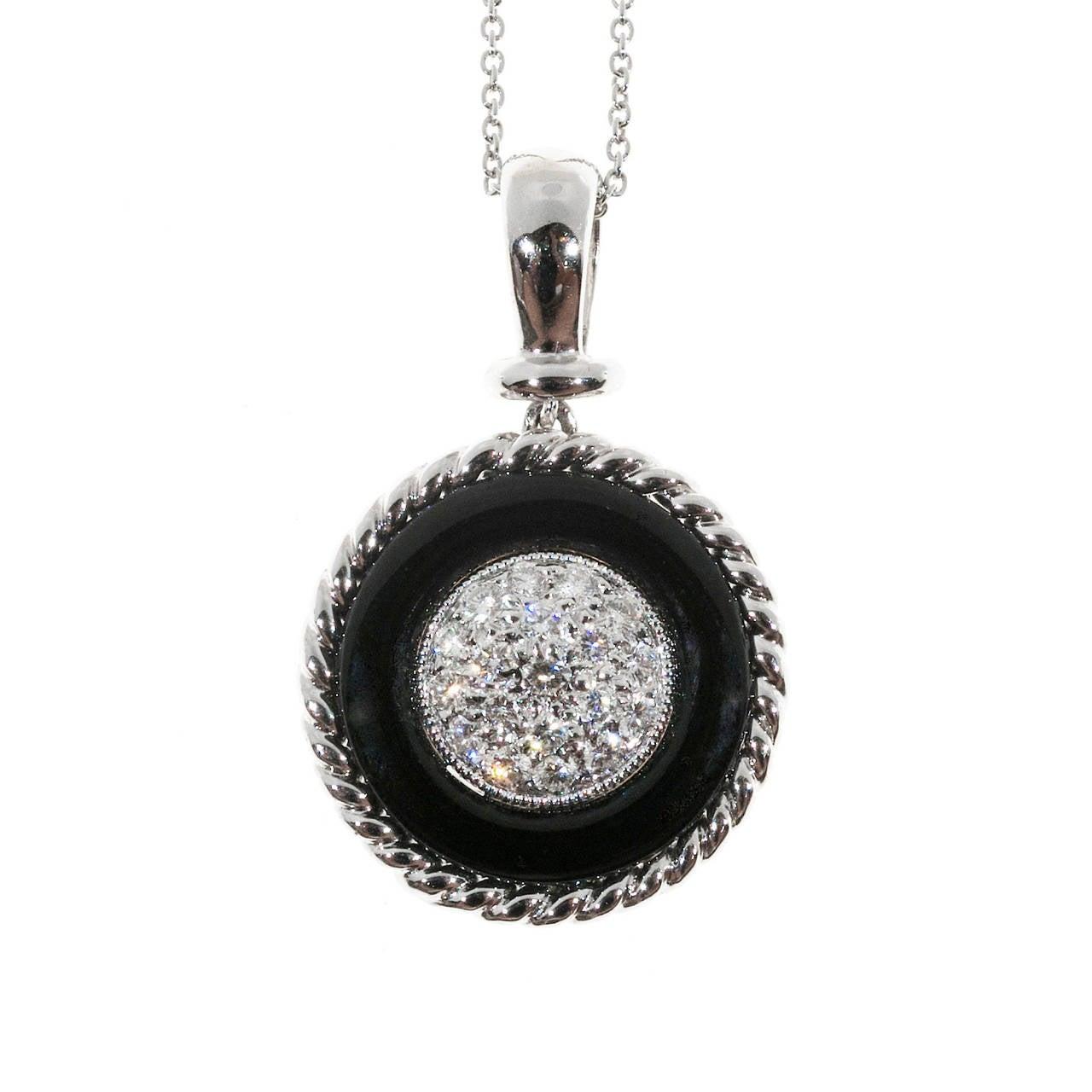 Black Onyx Circle Pave Diamond Platinum Necklace Pendant