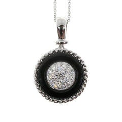 Black Onyx Circle Pave Diamond Platinum Necklace Pendant
