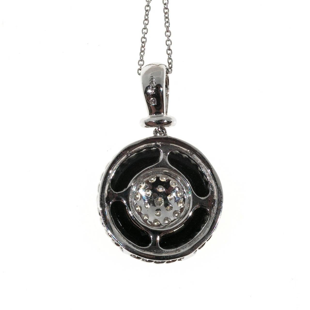 Black Onyx Circle Pave Diamond Platinum Necklace Pendant 4